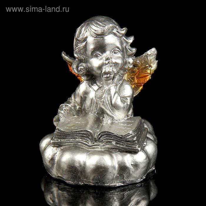 """Сувенир """"Читающий ангел"""" под бронзу с золотыми крыльями МИКС"""