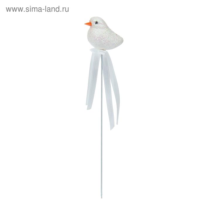 "Аксессуар на палочке ""Птичка"" белый цвет с лентой"