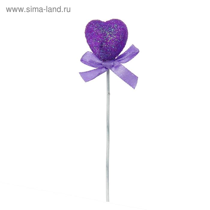 Сердце на палочке с бантиком, фиолетовый цвет