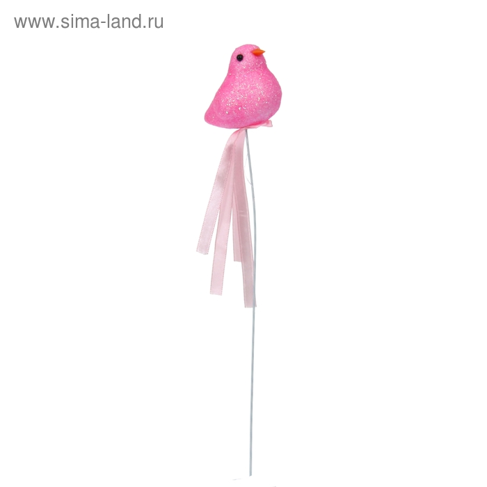 "Аксессуар на палочке ""Птица"" розовый цвет с лентой"