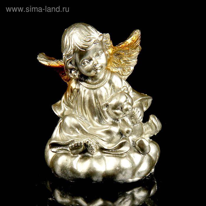"""Сувенир """"Ангелочек с игрушкой"""" под бронзу с золотыми крыльями МИКС"""