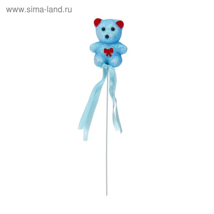 """Аксессуар на палочке """"Мишка"""" голубой цвет с бантиком и лентой"""