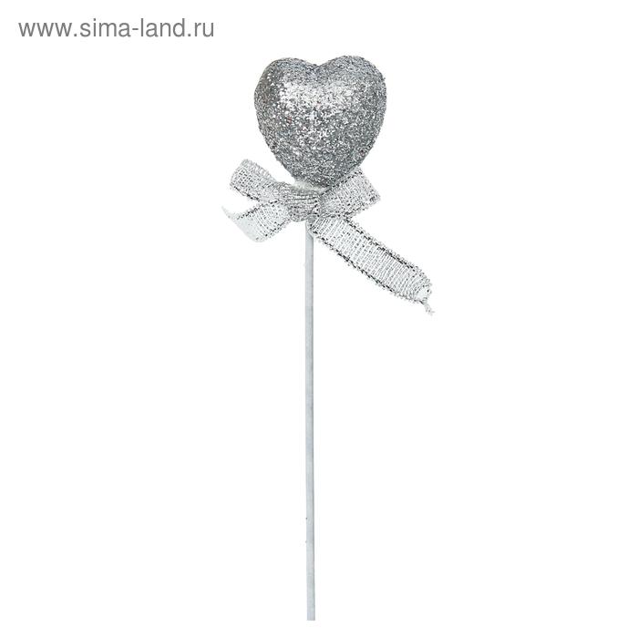 Сердце на палочке с бантиком