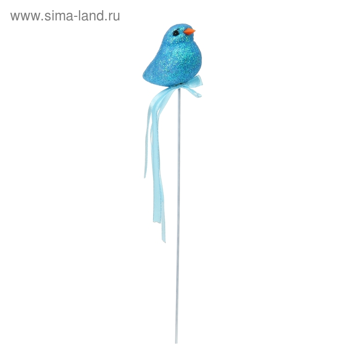 "Аксессуар на палочке ""Птичка"" голубой цвет с лентой"
