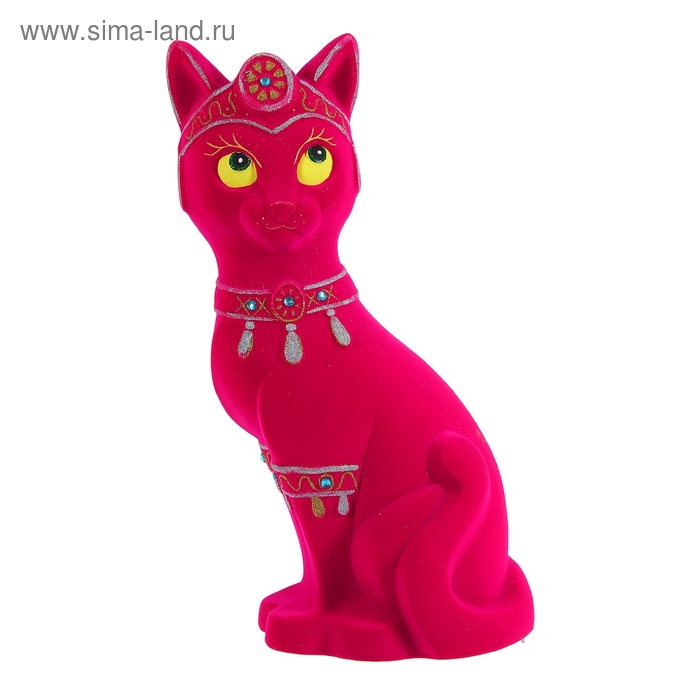 "Копилка ""Кошка-принцесса"" флок, розовая"