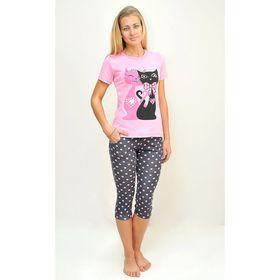 Комплект женский (футболка, бриджи) ТК-82БК, цвет микс, размер 48, кулирка