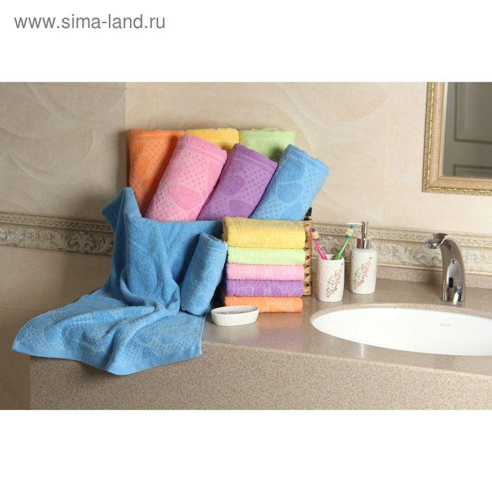 """Полотенце махровое """"Этель"""" Ариа голубой 50*90 см, 100% хлопок, 400гр/м2"""