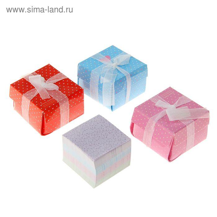 Блок для записей 350л тонир Сердца МИКС 55*55мм в подар коробке с бантиком