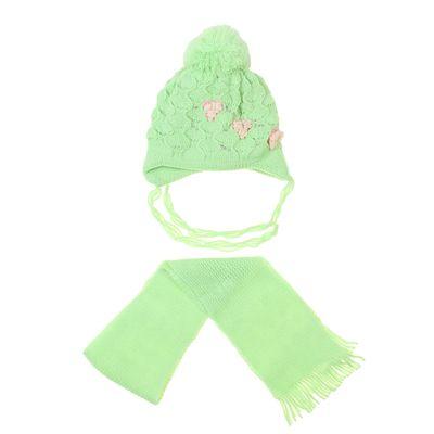 """Комплект для девочки (шапка двухслойная+шарф) """"Ромашка"""", размер 50-52, цвет МИКС"""