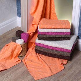 """Полотенце махровое """"Этель"""" Барокко оранжевый 30*70 см, 100% хлопок, 400гр/м2"""
