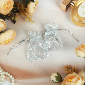 Мешочек подарочный универсальный 'Узор серебристый' 7*5, цвет серебро Ош