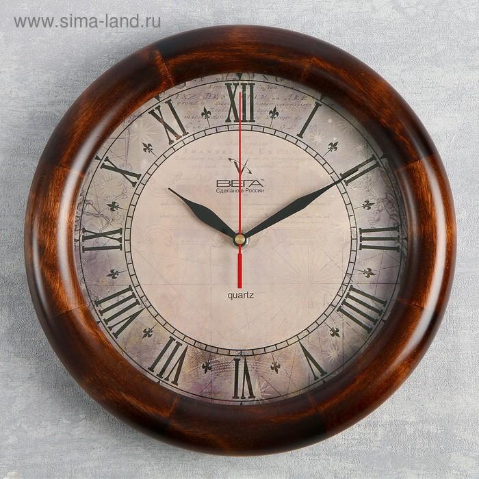 """Часы настенные круглые """"Римские цифры"""", деревянные"""