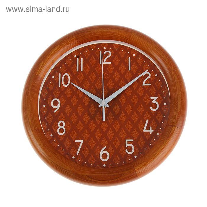 """Часы настенные круглые """"Сетка"""", деревянные"""