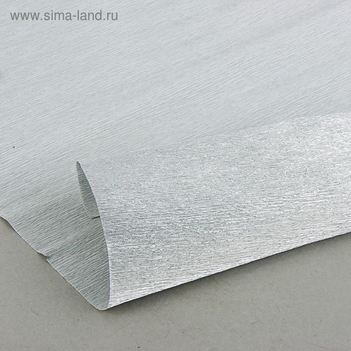 Бумага гофрированная 802 серебро металл, 50 см х 2,5 м