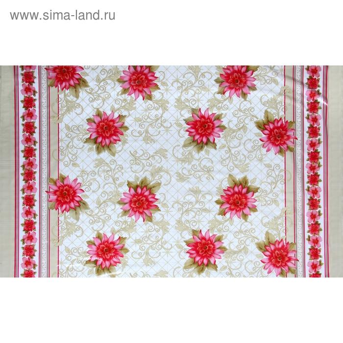 """Клеенка ПВХ """"Красные цветы"""", рулон 30 м"""