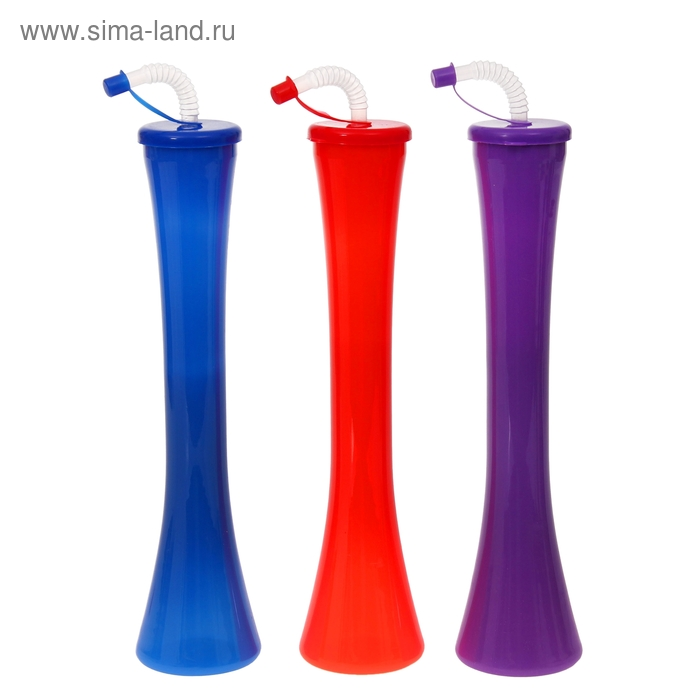 Стакан пластиковый с трубочкой 600 мл, цвета МИКС