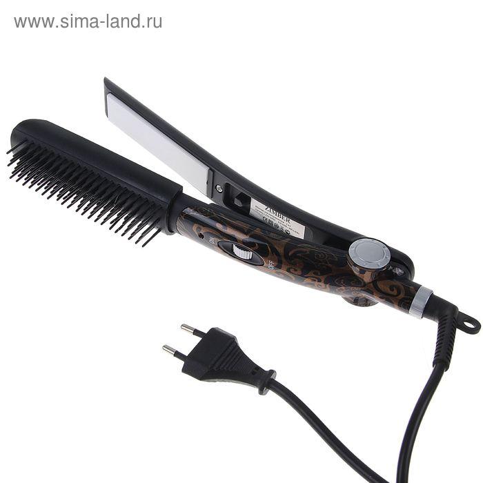 Стайлер Zimber ZM-10905, 45 Вт, керамические пластины, расчёска, чёрно-коричневый