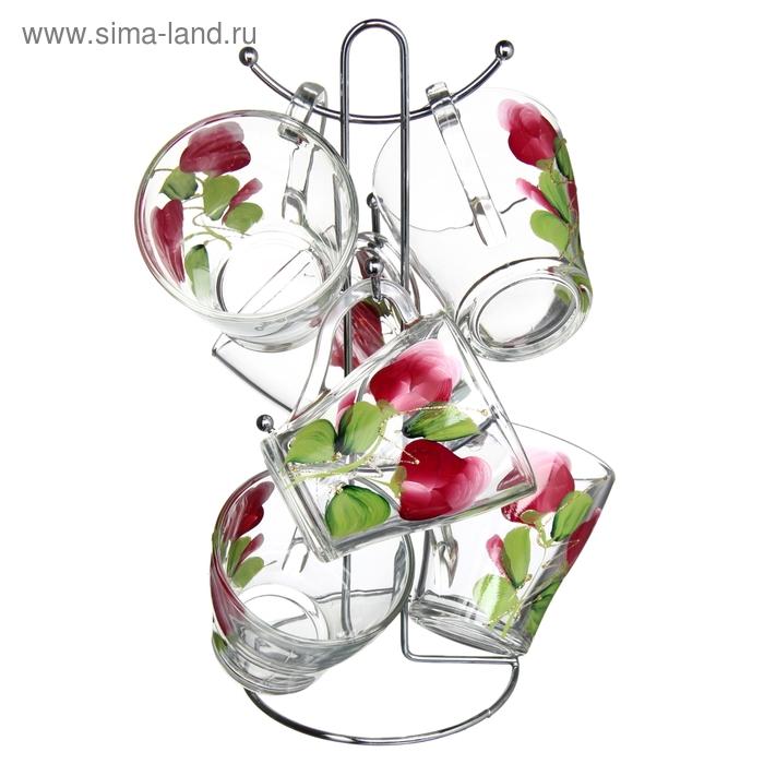 """Набор кружек 250 мл """"Яркие тюльпаны"""", 6 шт, железная подставка"""