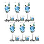"""Набор """"Цветы гжель"""", 12 предметов: 6 бокалов для шампанского 200 мл, 6 стопок 50 мл, рисунок МИКС"""