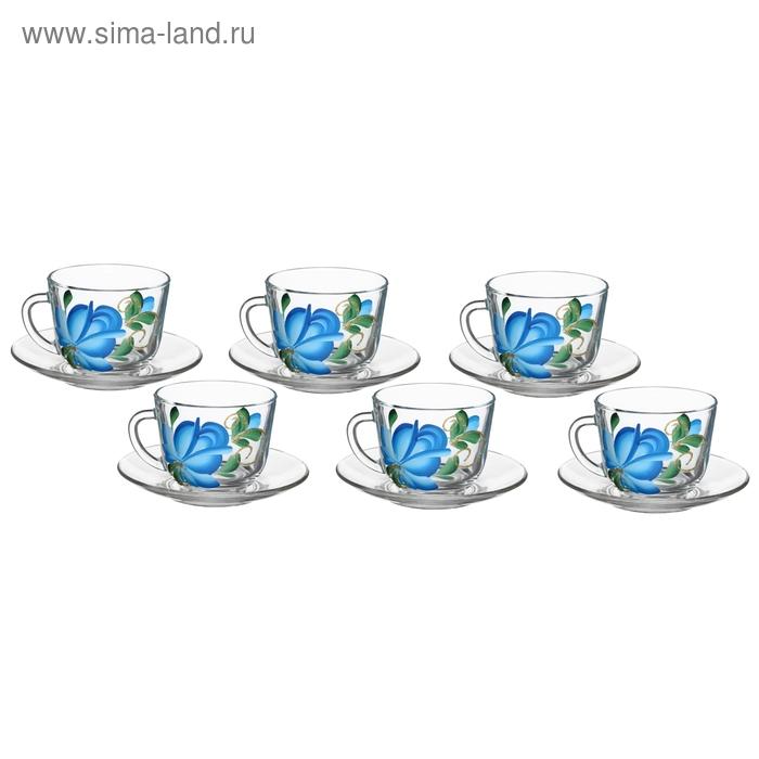 """Набор для чая """"Цветы гжель"""", 12 предметов: 6 кружек 200 мл, 6 блюдец d=13 см"""