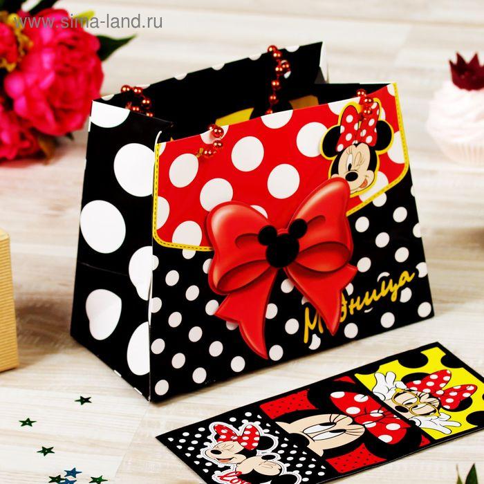 """Пакет-сумка """"Модница"""", Минни Маус, + визитки"""