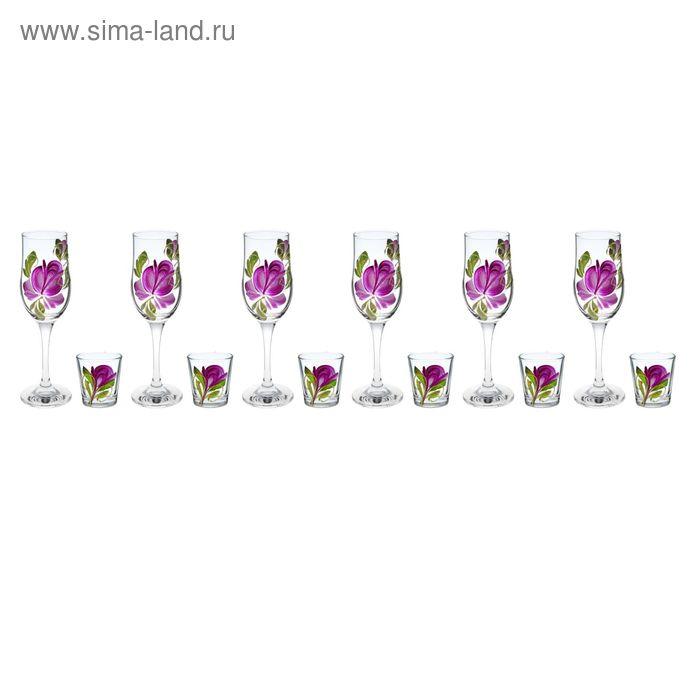 """Набор """"Тюльпаны"""" 6 бокалов для шампанского 200 мл, 6 стопок 50 мл, рисунок МИКС"""