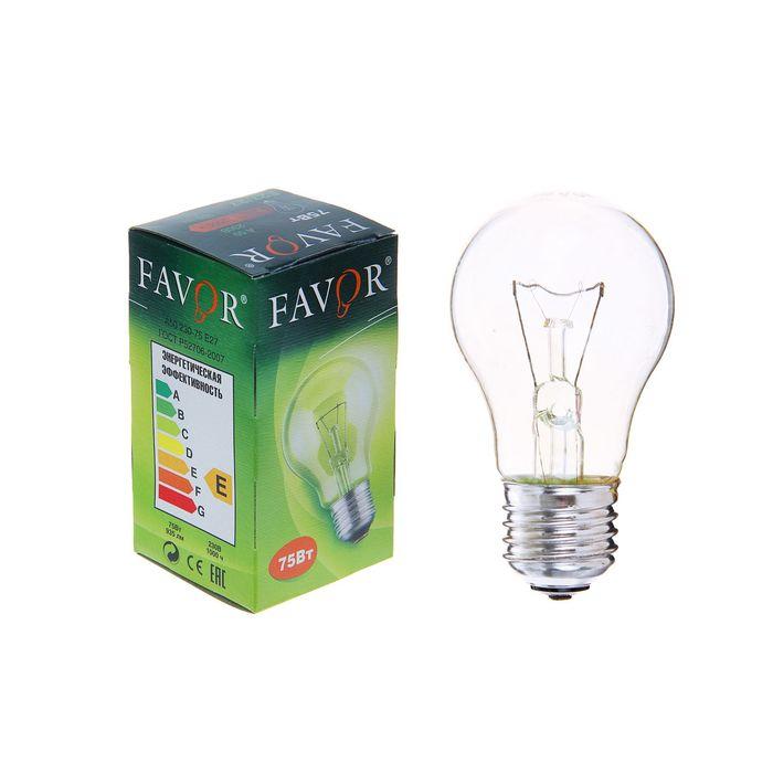 Лампа накаливания Favor Б, Е27, 75 Вт, 230 В