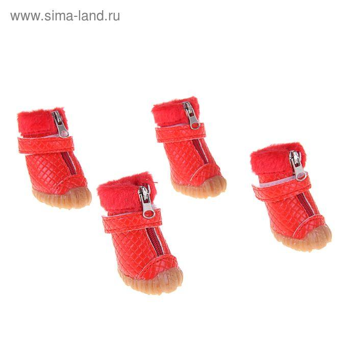 Ботинки рельефные, размер 5 (подошва 6 х 5 см), красные