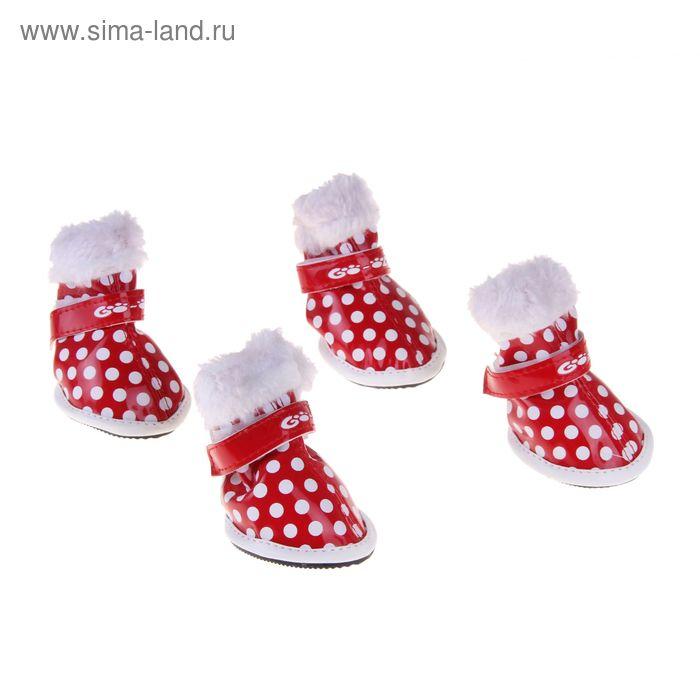 """Ботинки с мехом """"Горошек"""", размер 2 (подошва 5 х 4 см), красные"""