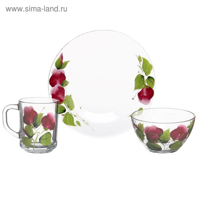 """Набор для завтрака """"Яркие тюльпаны"""", 3 предмета: кружка 250 мл, салатник 250 мл, тарелка d=20 см"""
