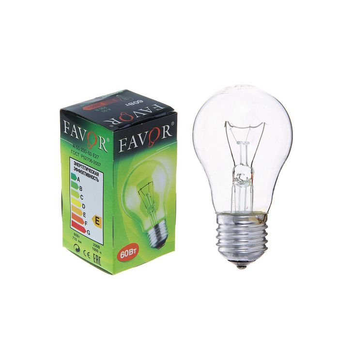 Лампа накаливания Favor Б, Е27, 60 Вт, 230 В