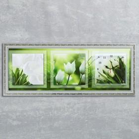 """Часы-картина настенные """"Белые тюльпаны"""", 35х100 см  микс"""