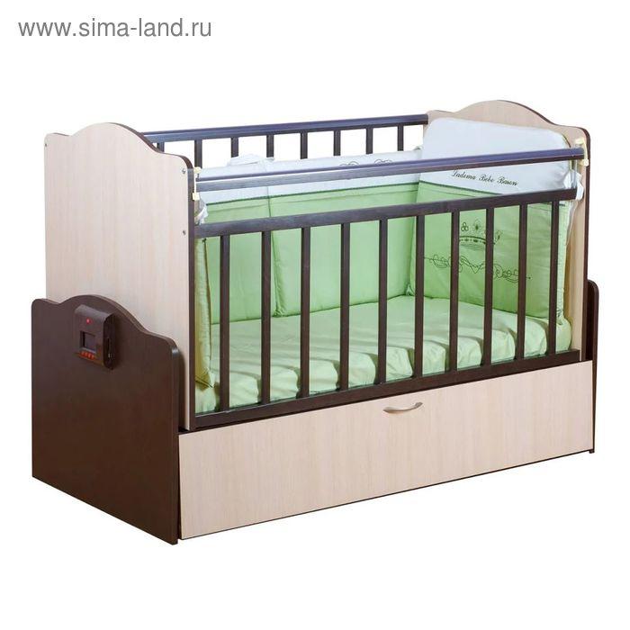 Автоматическая детская кроватка «Укачай-ка 02», цвет венге-молочный дуб