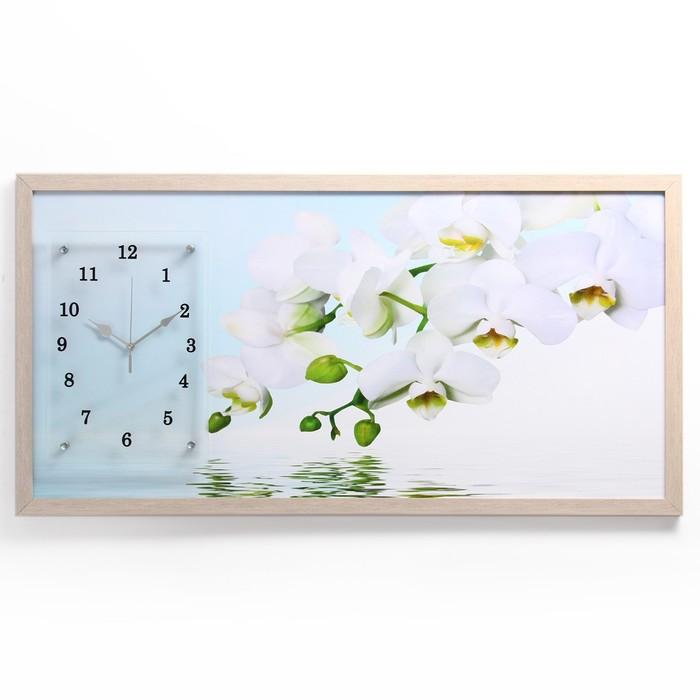 """Часы-картина настенные """"Водная гладь и белые орхидеи"""", 50х100 см микс"""