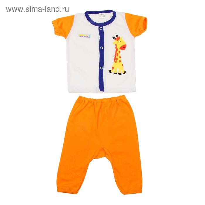 """Детский костюм """"Жираф"""": кофточка короткий рукав на застежке, штанишки 6-12 мес., рост 68-80 см, цвет оранжевый (арт. 000104)"""