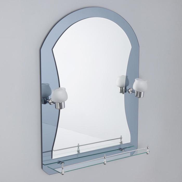 Зеркало в ванную комнату Ассоona A610, 800 х 600 мм, 1 полка, с подстветкой, двухслойное