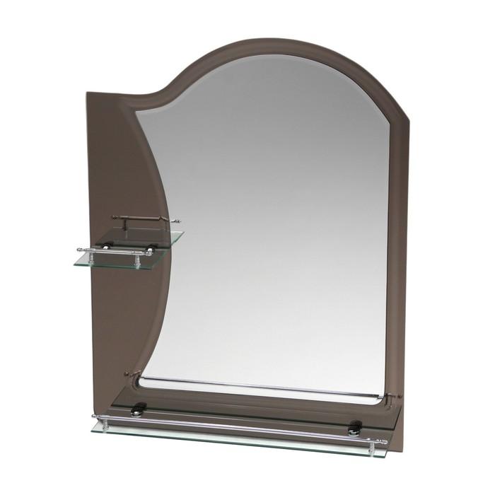 Зеркало в ванную комнату Ассоona A624, 800 х 600 мм, 2 полки, двухслойное