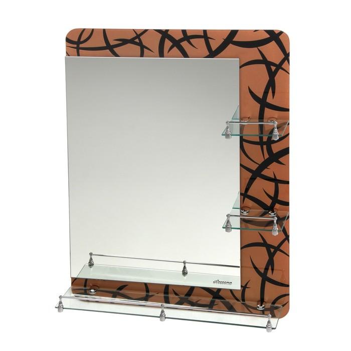 Зеркало в ванную комнату Ассоona A632, 800 х 600 мм, 3 полки, двухслойное