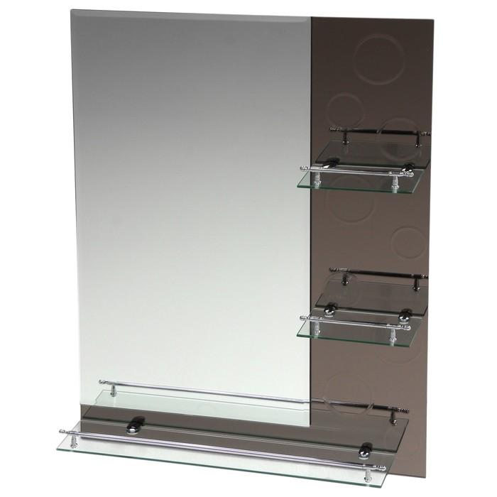 Зеркало в ванную комнату Ассоona A622, 800 х 600 мм, 3 полки, двухслойное