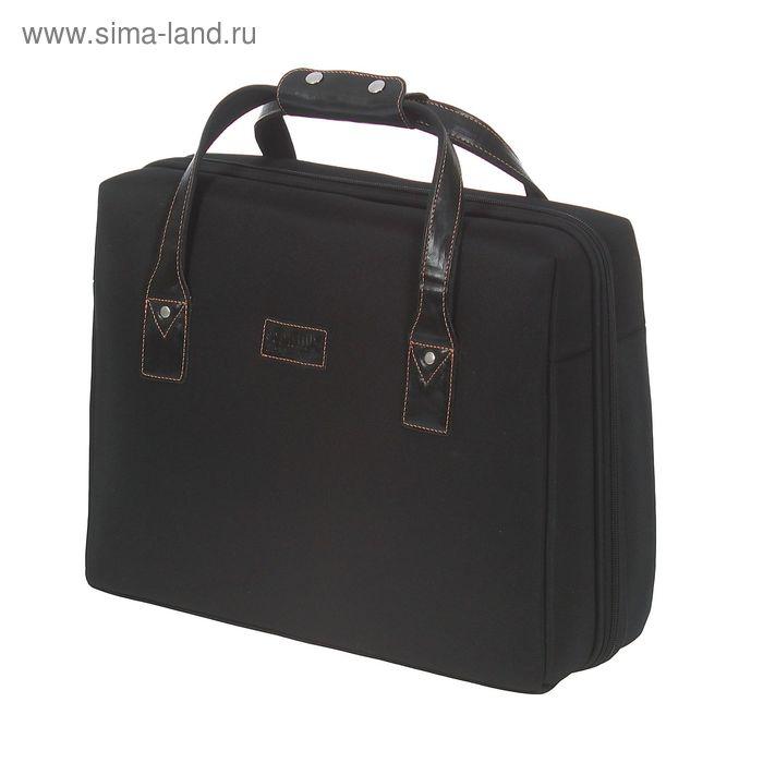Пилот-кейс на молнии, 1 отдел, накладка на задней стенке на ручку чемодана, чёрный