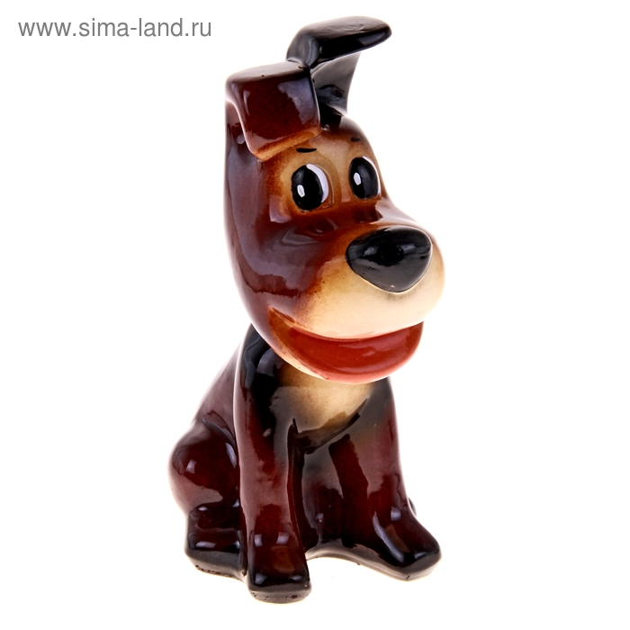 "Копилка ""Собака Рэкс"" глянец, тёмно-коричневая"