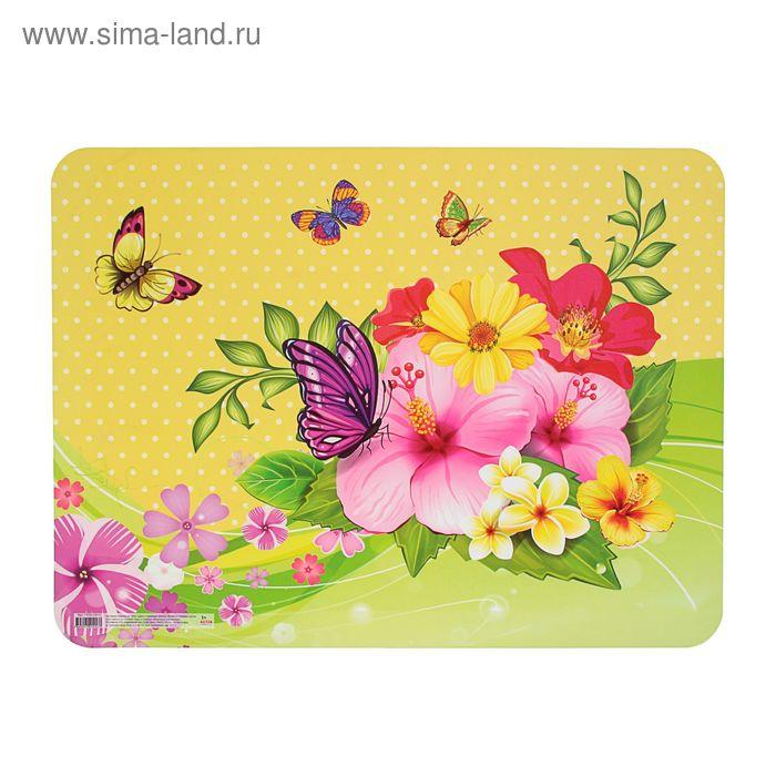 """Настольное покрытие для лепки А3 """"Цветы и порхающие бабочки"""", пластик"""