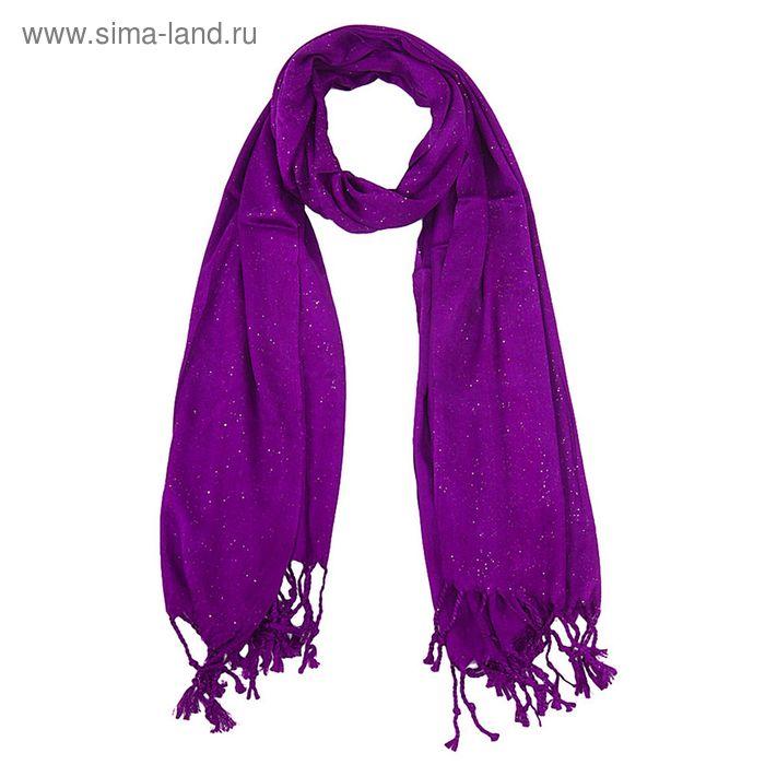 Палантин однотонный с бахромой, размер 55х160 см, цвет фиолетовый PC 3006 текстиль