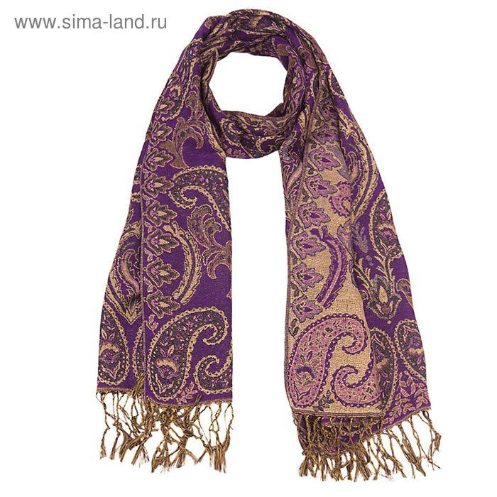 Палантин многоцветный с бахромой, размер 70х170 см, цвет фиолетовый P 2912 текстиль, жаккард