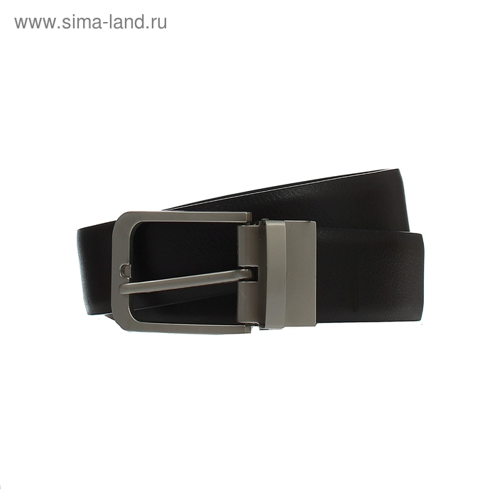 Ремень мужской двусторонний, винт, пряжка-перевёртыш под металл МИКС, ширина - 3см, чёрный/коричневый