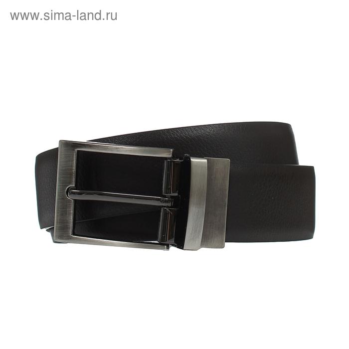 Ремень мужской двусторонний, винт, пряжка-перевёртыш под металл, ширина - 3см, винт, чёрный/коричневый