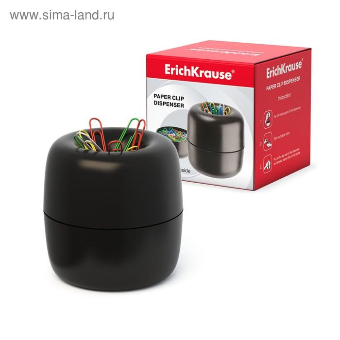 Подставка для скрепок магнитная Erich Krause со скрепками 30 штук