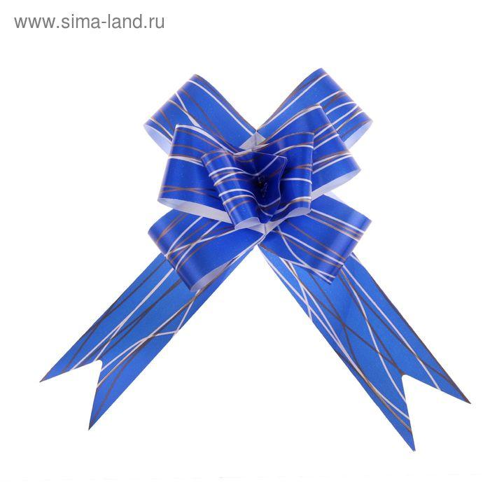 """Бант-бабочка №3 """"Линии"""", цвет синий"""