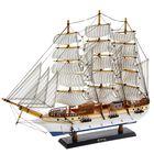 Корабль сувенирный большой «Трёхмачтовый», борта белые с голубой полосой, паруса белые, 60 × 10 × 48 см