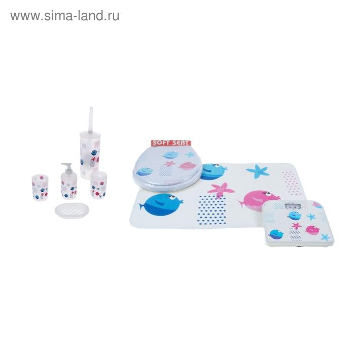 Набор для ванной 7 предм.(Коврик, весы, ведро, ерш, дозатор, мыльница, 2 стакана) УЦЕНКА